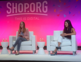 Joyce Lee, right, and Jennifer Tvedt on the Shop.org stage.