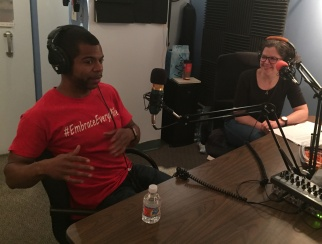 Myles Powell (left) talks sauce with co-host Jessica Hibbard (right)