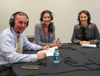 Danielle DiFerdinando (middle) with co-hosts Katie McBreen (right) and Bill Thorne (left).
