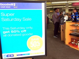 "Customers attending Goodwill's ""Super Saturday"" sale were only purchasing the promoted discounted items."