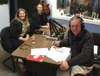 Dara Trujillo (front left) with co-hosts Katie McBreen (back left) and Bill Thorne (right)