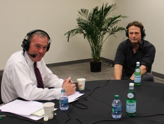 Henrik Werdelin (right) with host Bill Thorne (left) in the podcast studio.