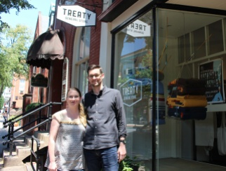 Hallie and Mark Burrier outside Treaty General Store in Frederick