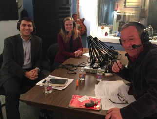 Evan Gold (left) in the podcast studio with co-hosts Sarah Rand (middle) and Bill Thorne (right)