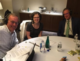 Rick Schart (right) joins Jessica Hibbard (center) and Bill Thorne (left) to record a podcast episode.