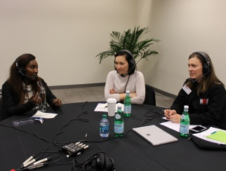 Katherine Cullen (middle) chats with Shaquayla Mims (left) and Jennifer Overstreet (right).