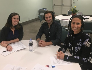 Benjamin Weiss (middle) joined co-hosts Jennifer Overstreet (left) and Katie McBreen (right)