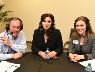 Rosamaria Sostilio (center) joined co-hosts Bill Thorne (left) and Jen Overstreet (right) in the recording studio.