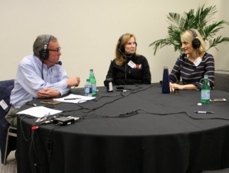 Host Bill Thorne (left) with Susan Newman (middle) and Angela Elder (right)