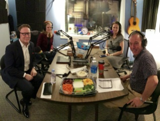 Timothy Lowery (front left) and Whitney Burns (back right) join co-hosts Bill Thorne (front right) and Sarah Rand (back left) in the podcast studio.