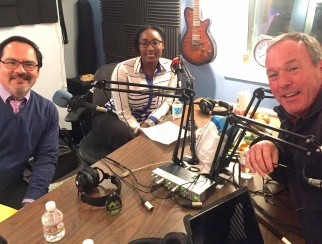 Hosts Bill Thorne (right) and Shaquayla Mims (center) discuss the latest research on Generation Z with NRF's Mark Mathews (left).