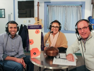 Ajay Kori (left) joined hosts Ana Serafin Smith (center) and Bill Thorne (right) in the podcast studio.