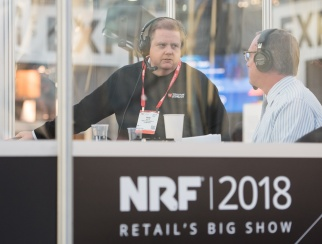 Rob Mills (left) chats with host Bill Thorne (right) in the podcast booth at NRF 2018: Retail's Big Show.