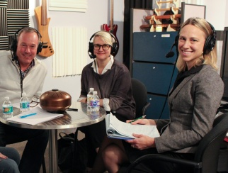 Sara Whiffen (right) and Amy Gardner (center) joined host Bill Thorne (left) in the podcast studio.