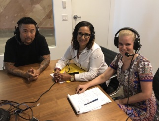 Roy Choi (left) joins co-hosts Sarah Rand (right) and Ana Serafin Smith (center) at Shop.org.