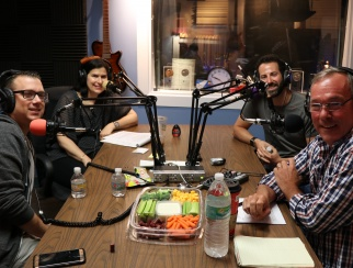 Anthony Lupo (front left) and Brian Schram (back right) join Susan Reda (back left) and Bill Thorne (front right) in the podcast studio