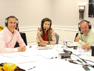 Tina Sharkey (center) with podcast co-hosts Bill Thorne (right) and PwC's Steve Barr (left).