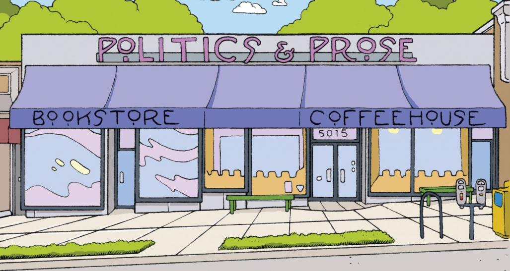 politics and prose cartoon store front