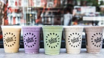four smoothies at Juice Press NYC location
