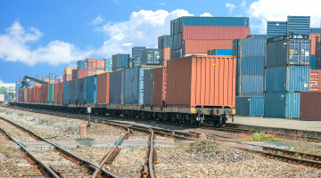shipping containers on train