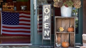 small business displaying USA flag
