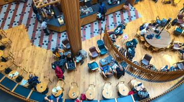 People in cafe aerial shot