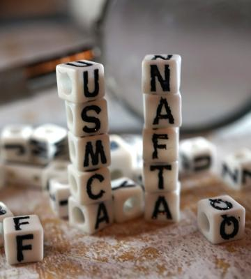 Blocks with USMCA and NAFTA spelled out