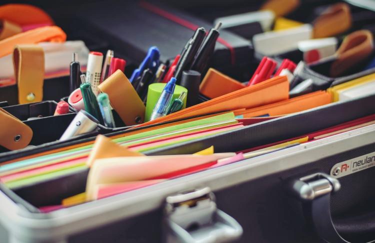 close up shot of school supplies