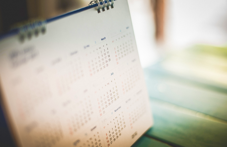 photograph of a year-view calendar on desk