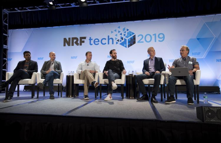 Autonomous Checkout Panel at NRFtech 2019 stage