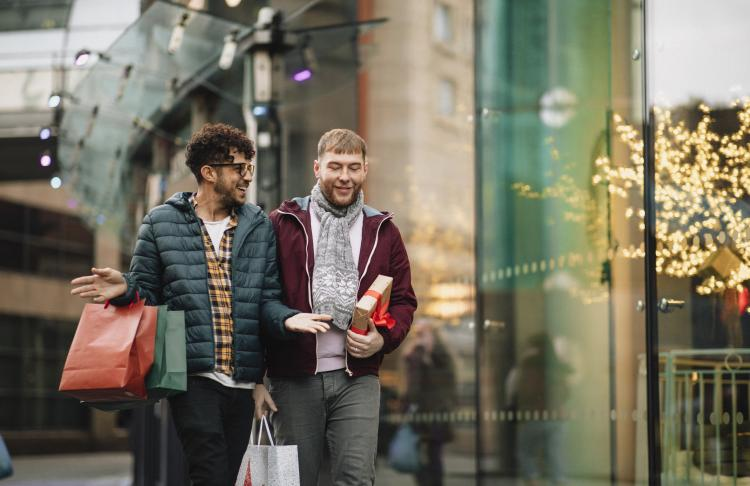 Two men shop during the holiday season